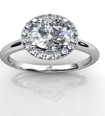 Oval Halo Engagement Ring in Platinum