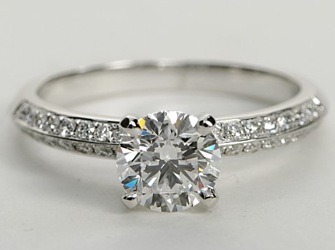 Knife Edge Double-Row Pave Engagement Ring in 14k White Gold