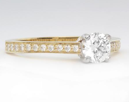 Micropave Engagement Ring in 18k Yellow Gold