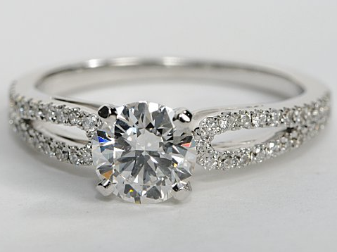 Micropave Loop Split Shank Engagement Ring in 14K White Gold