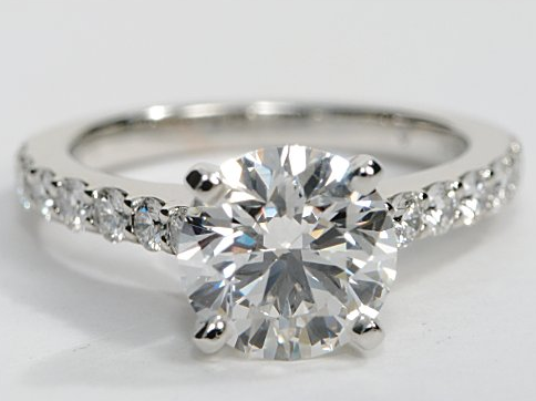 Pave Engagement Ring in 14k White Gold