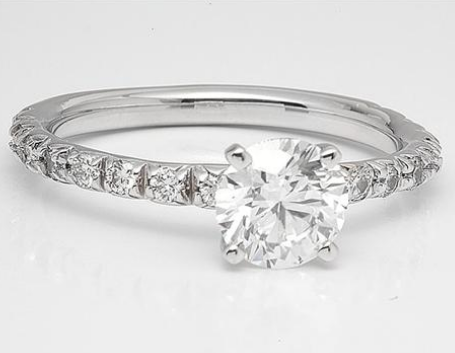 Floating Sidestone Engagement Ring in 18k White Gold