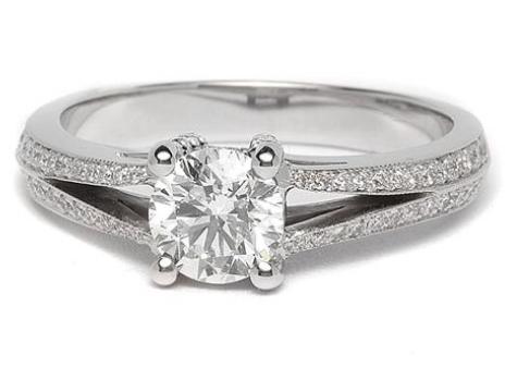 Pave Split Shank Engagement Ring in 14k White Gold