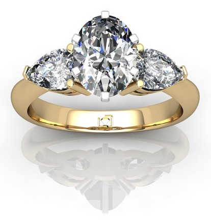 Pear-Shaped Diamond Side Stone Engagement Ring in 14k Yellow Gold