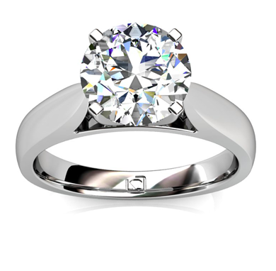 Polished Cathedral Solitaire Engagement Ring in 14k White Gold