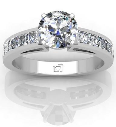Princess Cut Channel Set Engagement Ring – Platinum