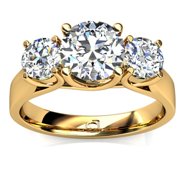 Round Three Stone Engagement Ring in 14k Yellow Gold