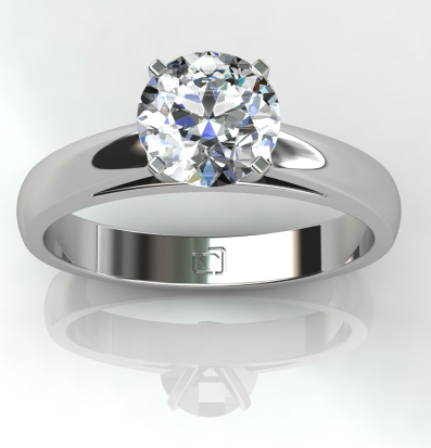 Rounded Edge Cathedral Solitaire Engagement Ring in Platinum