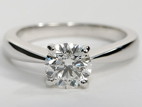Tapered Four Prong Solitaire Engagement Ring in 14k White Gold