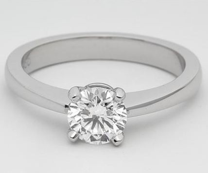 "Thin ""Slightly Pinched"" Solitaire Engagement Ring in Platinum"