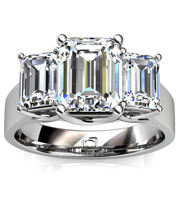 Three Stone Emerald Cut Engagement Ring in Platinum
