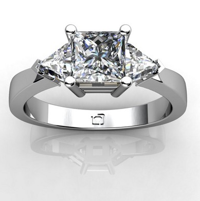 Three Stone Engagement Ring with Trillion Diamonds in Platinum