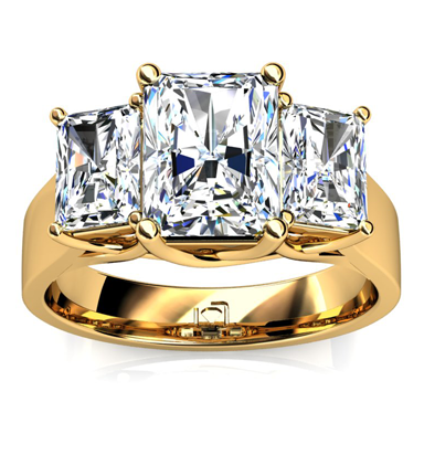 Three Stone Radiant Cut Engagement Ring in 14k Yellow Gold