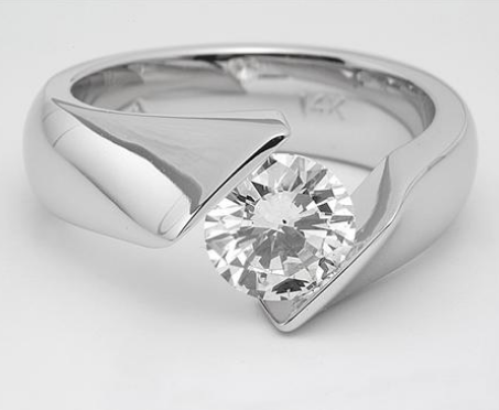 Twisted Tension-Set Engagement Ring in 14k White Gold