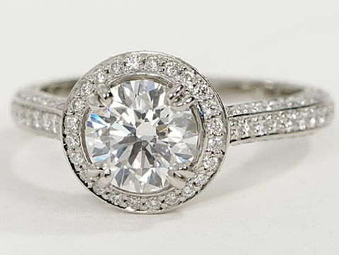 Vintage Halo Pave Engagement Ring in Platinum