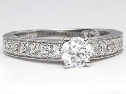 Vintage Style Pave Engagement Ring in Platinum