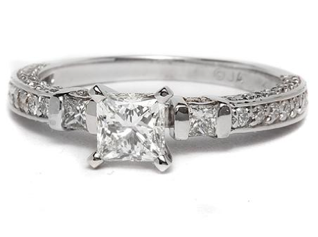 Pave and Sidestone Engagement Ring in 14k White Gold