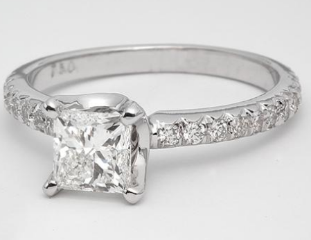 Pave Diamond Engagement Ring in 18k White Gold
