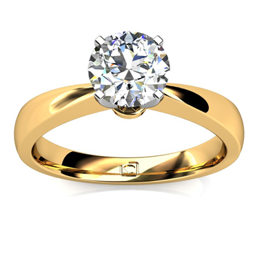 Pinched Shank Solitaire Engagement Ring – 14k Yellow Gold