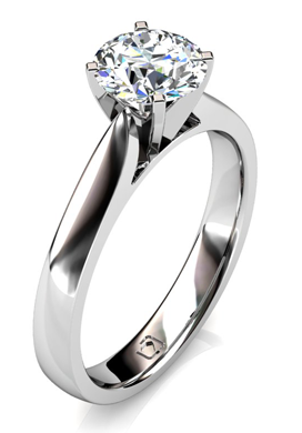 Sleek Knife-Edge Solitaire Engagement Ring in 14k White Gold