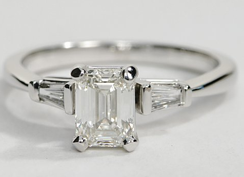 Tapered Baguette Engagement Ring in 14k White Gold