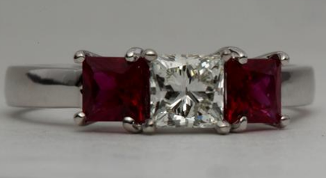 Three Stone Princess Cut Engagement Ring With Ruby