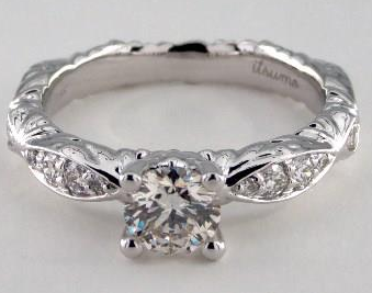 Pave Engagement Ring with a Decorated Band in 18k White Gold