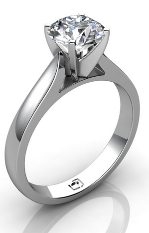 Pinched Shank Solitaire Engagement Ring in 14k White Gold