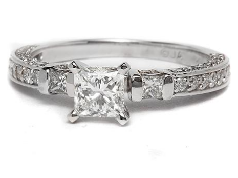 Princess Cut Sidestone + Pave Engagement Ring in Platinum