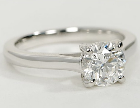 Solitaire Engagement Ring with Trellis Setting in 14k White Gold