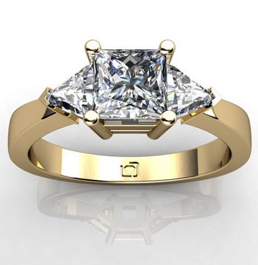Trillion Cut Sidestone Engagement Ring in 14k Yellow Gold