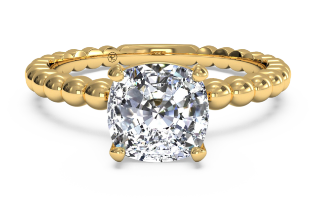 """Beaded"" Solitaire Engagement Ring with Surprise Diamonds in 18k Yellow Gold"