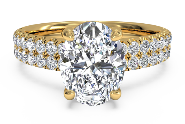 Double French-Set Pave Engagement Ring in 18k Yellow Gold