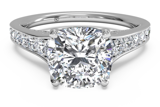 Tapered Pave Diamond Engagement Ring in 18kt White Gold