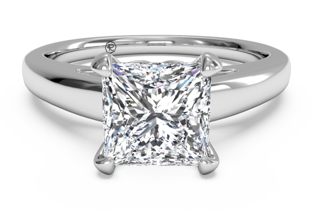 X-O Solitaire Engagement Ring in 18k White Gold