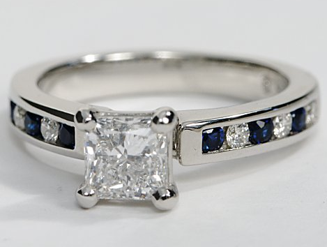 Engagement Ring with Channel Set Sapphires and Diamonds in 18k White Gold