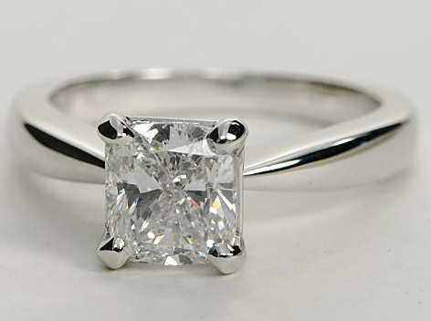 Classic Tapered Solitaire Engagement Ring in 18k White Gold
