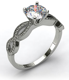 Infinity Pave Vintage Engagement Ring in 14k White Gold