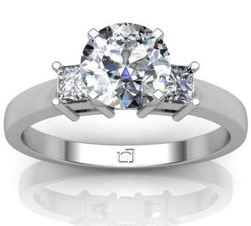 Princess Cut Side Stone Engagement Ring in 14k White Gold