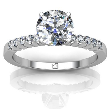Thin Band Pave Engagement Ring in Platinum
