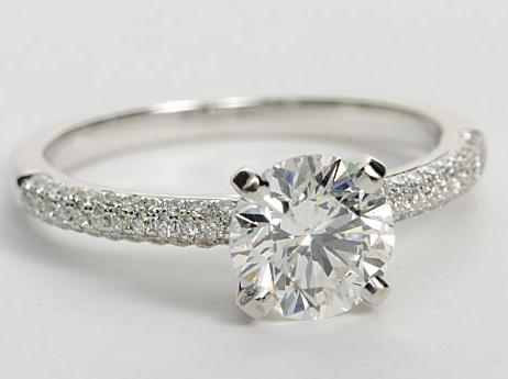 Triple Row Micropave Engagement Ring In 14k White Gold