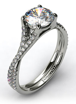 Twisted Coil Pave Engagement Ring in 14k White Gold
