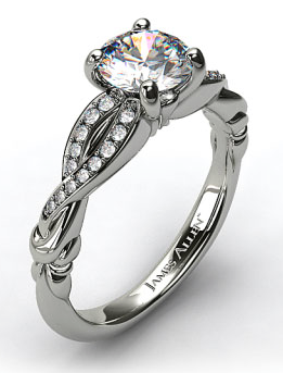 Crossover Bow Pave Engagement Ring in 14k White Gold