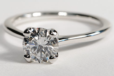 'Petite Nouveau' Solitaire Engagement Ring in 18k White Gold