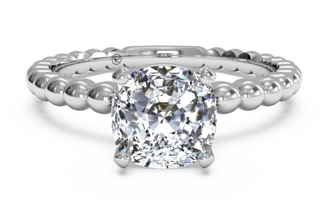 Beaded Band Solitaire Engagement Ring plus Surprise Diamonds in 14k White Gold