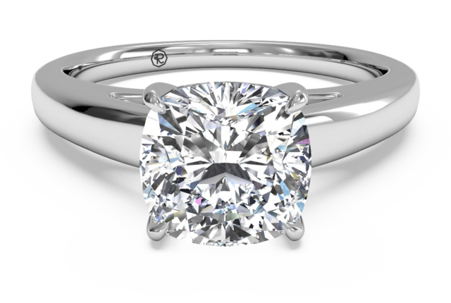 Solitaire Engagement Ring with Surprise Diamonds in 14k White Gold