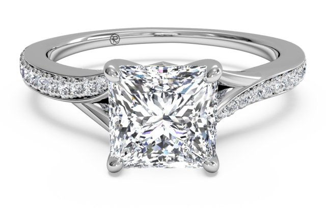 Slightly Twisted Pave Engagement Ring in Palladium