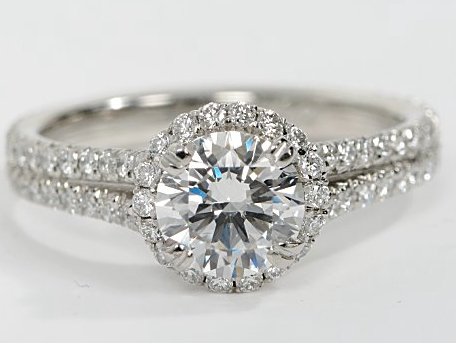 Split Band Halo Diamond Ring in Platinum
