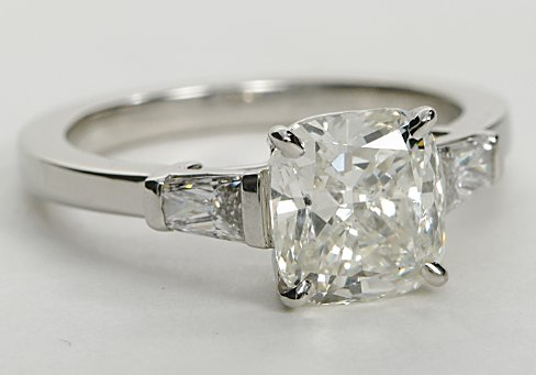 Squared Edge Engagement Ring with Baguette Sidestones in Platinum