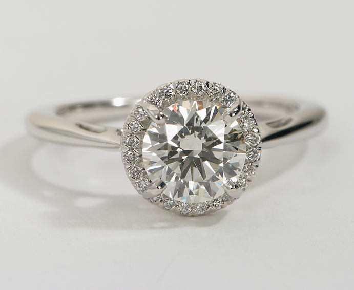 Halo Engagement Ring in 18k White Gold
